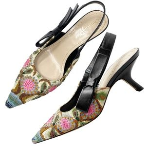 Dior Sweet D Embroidered Slingback Pointed Pumps